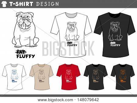 T Shirt Design With Bulldog