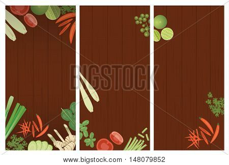 Thai foods restaurant menu template. Thai ingredients on wooden background
