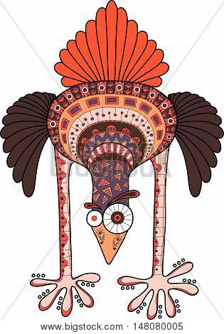 Crazy ostrich with doodle pattern multicolor cartoon vector illustration