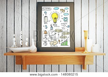 Picture frame with creative business idea sketch placed on wooden shelf with candles and small decorative ship on white plank background. 3D Rendering
