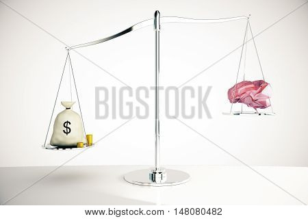 Money Outweighing Brain On Light Background