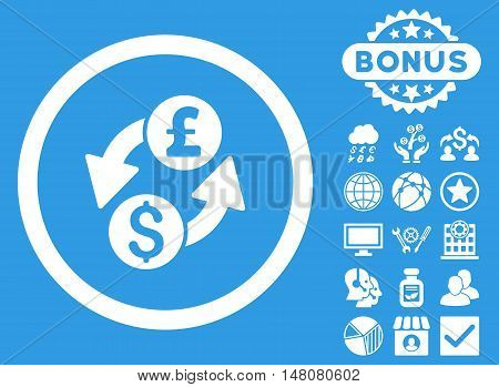 Dollar Pound Exchange icon with bonus symbols. Vector illustration style is flat iconic symbols white color blue background.