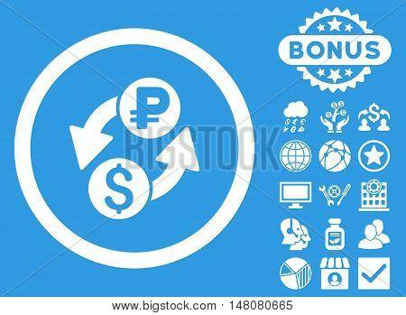 Dollar Rouble Exchange icon with bonus symbols. Vector illustration style is flat iconic symbols white color blue background.