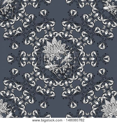 Black seamless background with round white floral pattern.