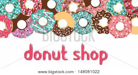 Donuts patisserie banner. Vector donuts isolated. Deserts food in a flat style. Sweet donuts with frosting and caramel topping.