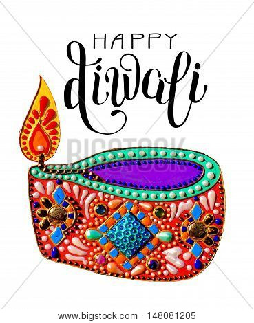 original greeting card to deepavali festival with diya jewels painting and hand lettering inscription happy diwali, vector illustration