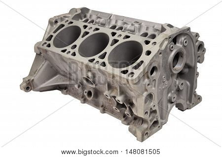 Internal combustion engine after powder coating on white background