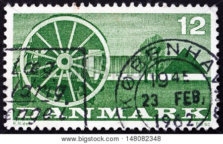 DENMARK - CIRCA 1960: a stamp printed in Denmark shows Seeder and Farm circa 1960