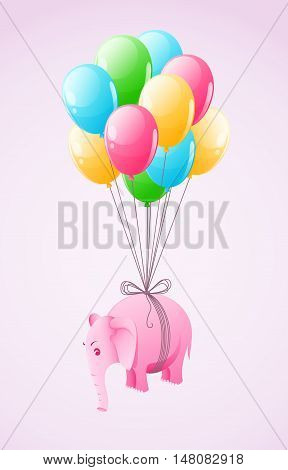 Small pink elephant flying at colourful air balloon vector illustration eps10