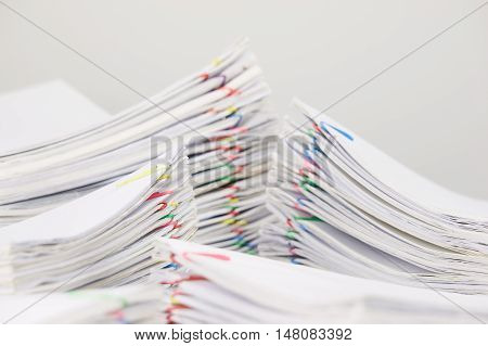 Pile Overload Document Have Blur Pile Paperwork Foreground And Background