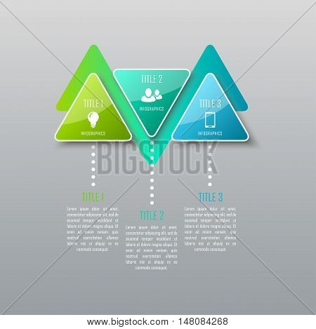 Three steps infographics. Infographic timeline template can be used for chart, diagram, web design, workflow layout