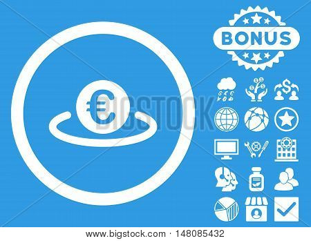 Euro Placement icon with bonus symbols. Vector illustration style is flat iconic symbols white color blue background.