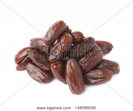 Pile of dark date fruits over white isolated background surface