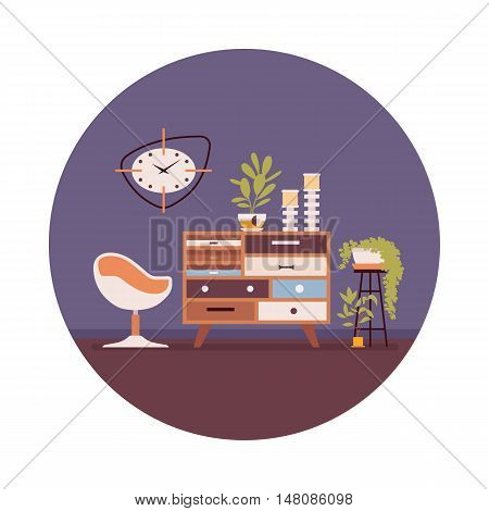Retro interior with a sideboard bookcase , ball chair, wallcloks in a purple circle. Cartoon vector flat-style illustration