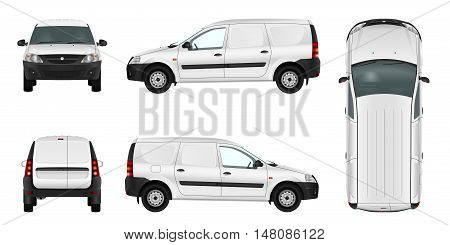 White minivan template. Blank vector delivery van. Cargo isolated car.