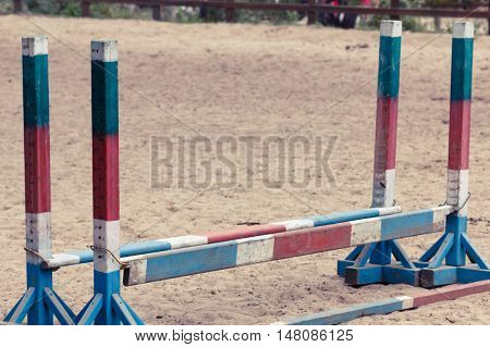 Equitation obstacles barriers during a horse jumping competition