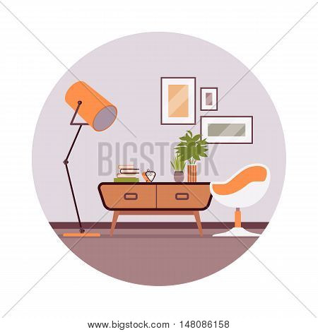 Retro interior with a sideboard bookcase, picture, ball chair in a grey circle. Cartoon vector flat-style illustration