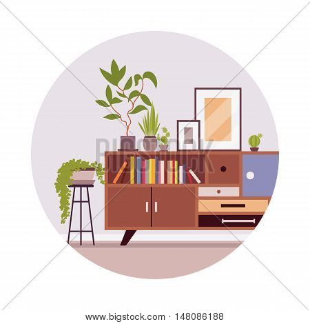 Retro interior with a sideboard bookcase, picture, plants in a grey circle. Cartoon vector flat-style illustration
