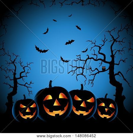 Halloween night with grinning pumpkins on blue background vector eps 10