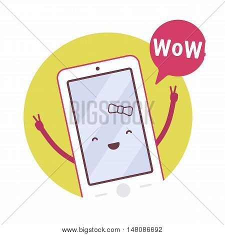 Smiling girl smartphone in a green circle, hands up, victory, wow. Cartoon vector flat-style concept illustration
