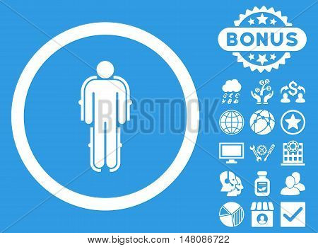 Exoskeleton icon with bonus images. Vector illustration style is flat iconic symbols white color blue background.