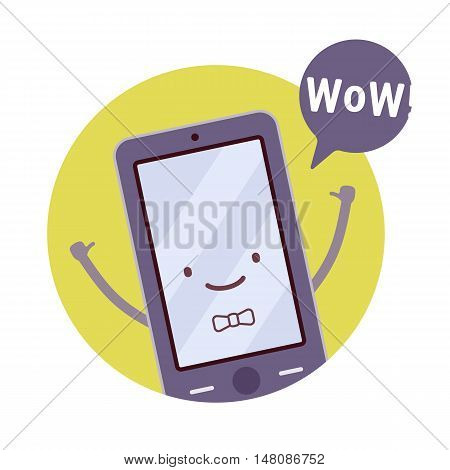 Smiling boy smartphone in a green circle, hands up, tumb up, wow. Cartoon vector flat-style concept illustration