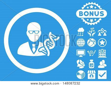 Genetic Engineer icon with bonus pictures. Vector illustration style is flat iconic symbols white color blue background.
