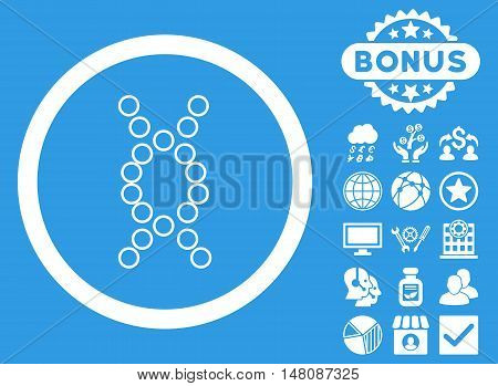 Genome icon with bonus pictogram. Vector illustration style is flat iconic symbols white color blue background.