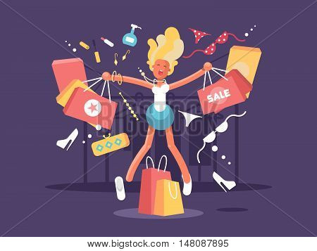 Young blonde goes shopping. Happy woman with Purchase bags. Vector illustration