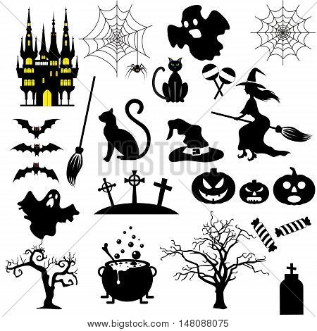 Halloween black and white icons set isolated on white background. vector illustration for Halloween design, website, flier, invitation card