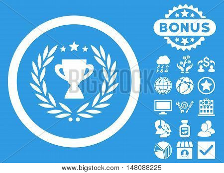Glory icon with bonus pictogram. Vector illustration style is flat iconic symbols white color blue background.