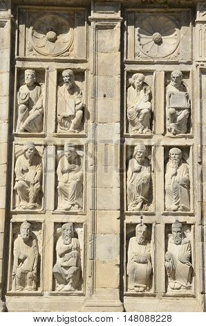 Scupltures on the facade of the Forgiveness door in Santiago de Compostela catheral Galica Spain.