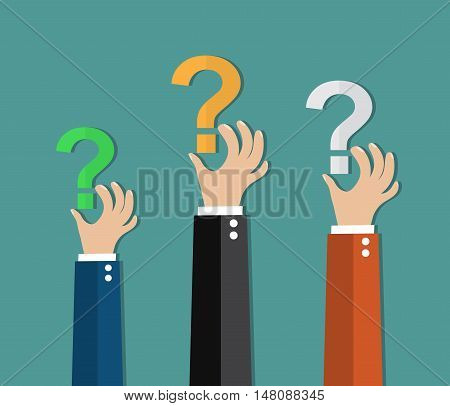 Concept of questioning, hands holding question marks. vector illustration in flat design on green background