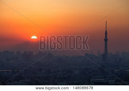Fuji Diamond Sunset at Top of Mt.Fuji and Tokyo city view in autumn