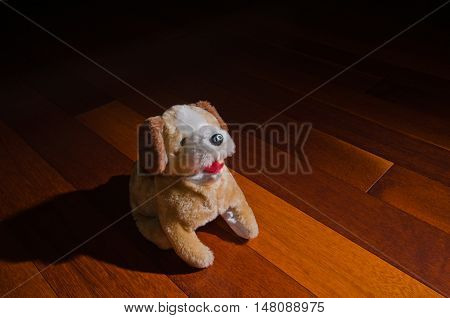 Plush dog puppy doll toy sitting obediently in front of spotlight