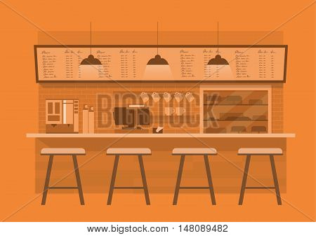 vector illustration design of coffee shopcoffee barcounter Orange monotone color backgroundflat style