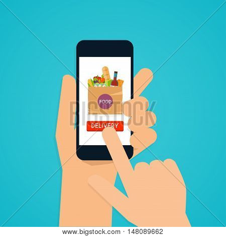 Hand holding mobile smart phone with application food delivery. Food in package. Ecommerce concept: order food online website. Flat design style modern vector illustration concept.