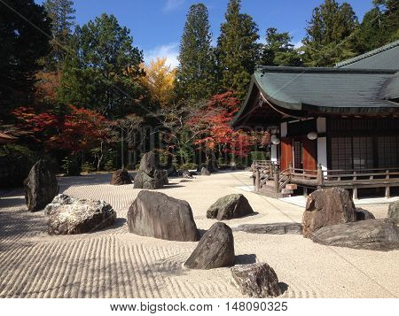 quiet and peaceful zen garden in Wakayama, Japan