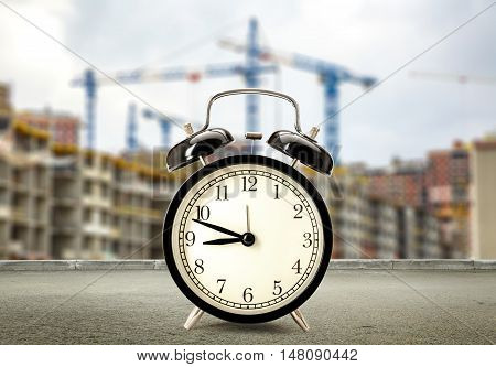 Clock On Buildings And Cranes Background