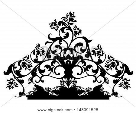 rose flowers calligraphic design - black and white vector decor