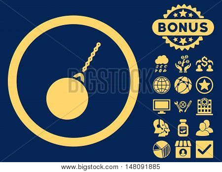 Destruction Hammer icon with bonus pictogram. Vector illustration style is flat iconic symbols yellow color blue background.