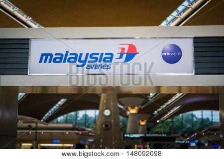 Kuala Lumpur, Malaysia - August 2016: Malaysia Airlines Logo at Kuala Lumpur International Airport, Malaysia. Malaysia Airlines is Malaysia's flag carrier.