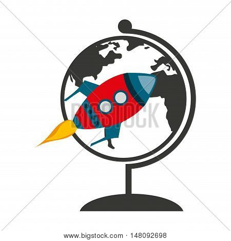 world planet with rocket launcher vector illustration design