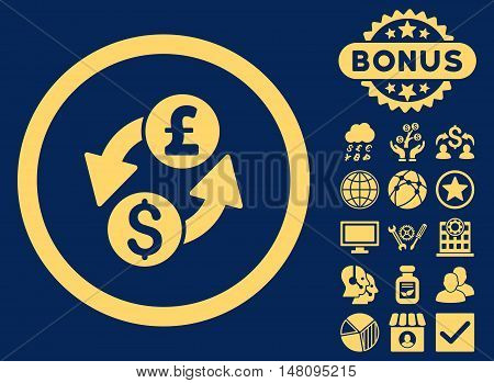 Dollar Pound Exchange icon with bonus pictures. Vector illustration style is flat iconic symbols yellow color blue background.