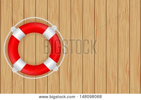 Life buoy on wooden wall. Vector illustration on brown wooden texture