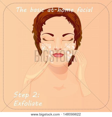 Young woman cares and protects her face with exfoliate. Beauty facial procedure vector illustration. Face care with scrub.