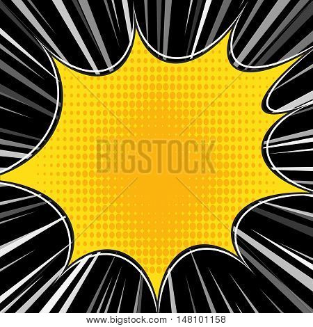 Comic book explosion superhero pop art style radial lines background. Manga or anime speed frame. Vector.