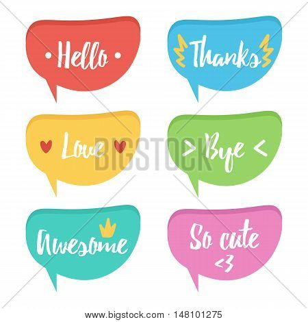 Cute colorful speech bubble set, collection with different words isolated on white background. Hello, thanks, love, bye, awesome, cute.