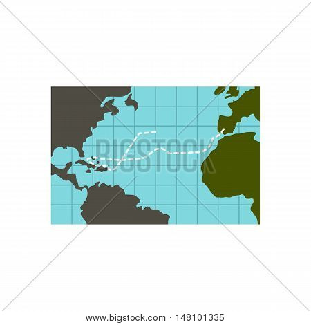 Christopher Columbus voyage icon in flat style on a white background vector illustration