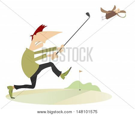 Angry golfer. Angry golfer runs for the bird which stealing his golf ball